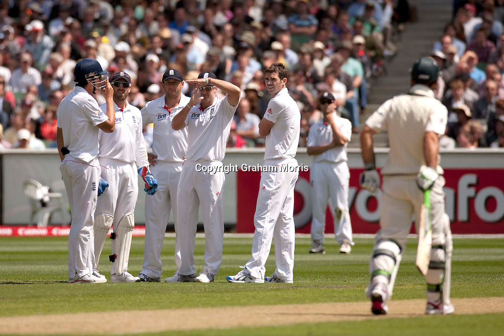 Captain Andrew Strauss about to lose his first referral during the fourth Ashes test match between Australia and England at the MCG in Melbourne, Australia. Photo: Graham Morris (Tel: +44(0)20 8969 4192 Email: sales@cricketpix.com) 26/12/10