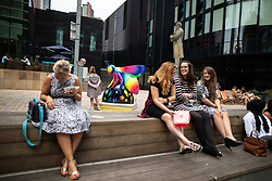 July 26, 2018 - Manchester, Greater Manchester, UK - Manchester , UK . Bee in the City sculpture outside HOME . ''Bee-bop-a-raver'' by Caroline Daly . Over 100 bee sculptures , decorated and painted by different artists , have been placed across Manchester City Centre . The worker bee is Manchester's symbol , reflecting the City's heritage as the home of the industrial revolution  (Credit Image: © Joel Goodman/London News Pictures via ZUMA Wire)
