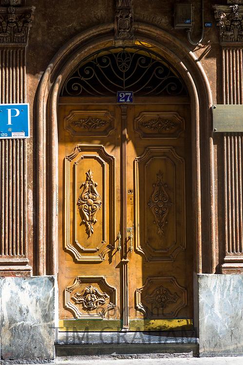 Traditional architecture doorway in Bilbao, Spain
