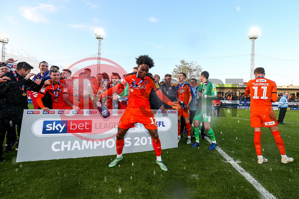 Pelly Ruddock  dances as Luton Town celebrate winning the league and securing automatic promotion from Sky Bet League 1 to the Sky Bet Championship - Rogan/JMP - 04/05/2019 - Kenilworth Road - Luton, England - Luton Town v Oxford United - Sky Bet League One.