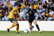 Emma Kete in possession during the Cup of Nations Women's Football match, New Zealand Football Ferns v Matildas, Leichhardt Oval, Thursday 28th Feb 2019. Copyright Photo: David Neilson / www.photosport.nz