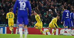 LONDON, ENGLAND - Wednesday, December 10, 2014: Sporting Clube de Portugal's Jonathan Silva celebrates scoring the first goal against Chelsea during the final UEFA Champions League Group G match at Stamford Bridge. (Pic by David Rawcliffe/Propaganda)