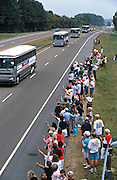 CAPE GIRARDEAU, MO - August 30: The campaign bus carrying US President Bill Clinton travels along the interstate August 30, 1996 in Cape Girardeau. MO.      (Photo Richard Ellis)