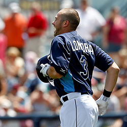 March 21, 2012; Port Charlotte, FL, USA; Tampa Bay Rays third baseman Evan Longoria (3) during the bottom of the first inning of a spring training game against the New York Yankees at Charlotte Sports Park.  Mandatory Credit: Derick E. Hingle-US PRESSWIRE
