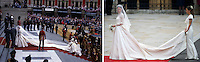 This photo composition compares the bride's arrival the wedding of Prince Charles, Prince of Wales and Diana, Princess of Wales on July 29 1981 with that of Prince William, Duke of Cambridge and Catherine, Duchess of Cambridge on April 29, 201.1.