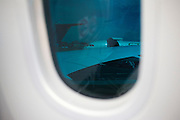 Tinted windows on the Boeing-manufactured 787 Dreamliner (N787BX) at the Farnborough Airshow.