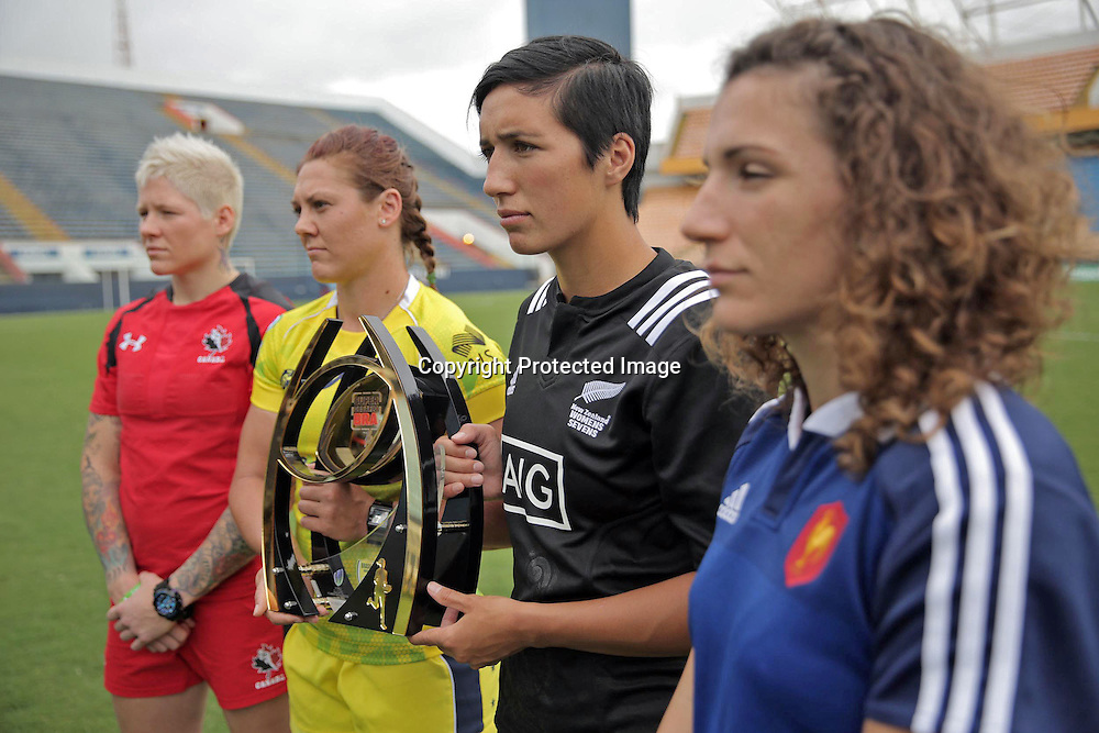 Team captain's from Canada (Jen Kish), Australia (Sharni Williams), New Zealand (Sarah Goss) and France (Fanny Horta) pose with the trophy for round two of the Women's Sevens Series in Brazil.