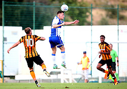 Tom Lockyer of Bristol Rovers wins a header - Mandatory by-line: Robbie Stephenson/JMP - 18/07/2017 - FOOTBALL - Estadio da Nora - Albufeira,  - Hull City v Bristol Rovers - Pre-season friendly
