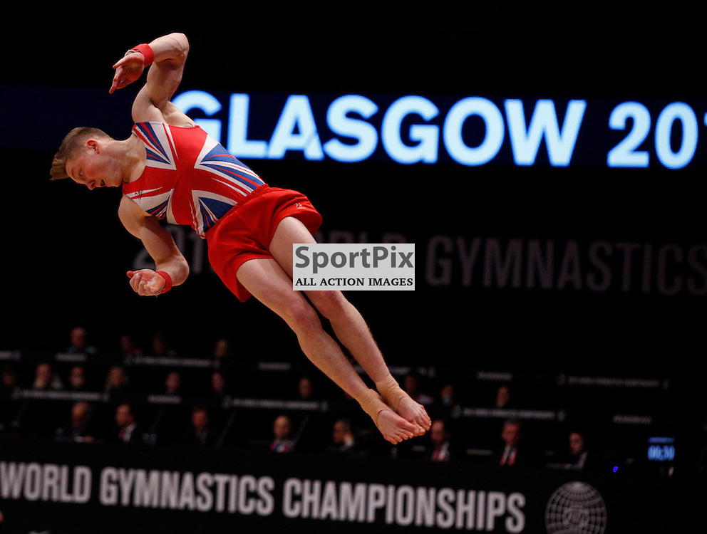 2015 Artistic Gymnastics World Championships being held in Glasgow from 23rd October to 1st November 2015.....Nile Wilson (Great Britain) competing in the Floor Exercise competition..(c) STEPHEN LAWSON | SportPix.org.uk