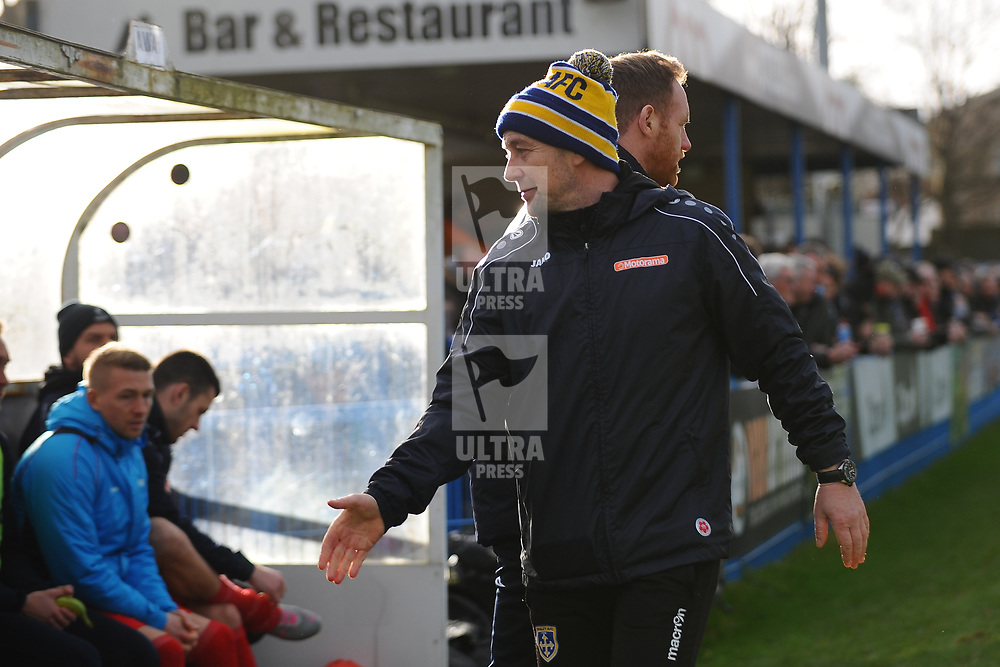 TELFORD COPYRIGHT MIKE SHERIDAN Guiseley joint boss Russ O'Neill  during the Vanarama Conference North fixture between Guiseley and AFC Telford United at Nethermoor Park on Saturday, February 8, 2020.<br /> <br /> Picture credit: Mike Sheridan/Ultrapress<br /> <br /> MS201920-046