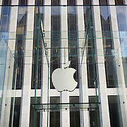 NEW YORK , US -  August 13, 2015: Apple logo at the entrance of 5th Avenue store in Manhattan