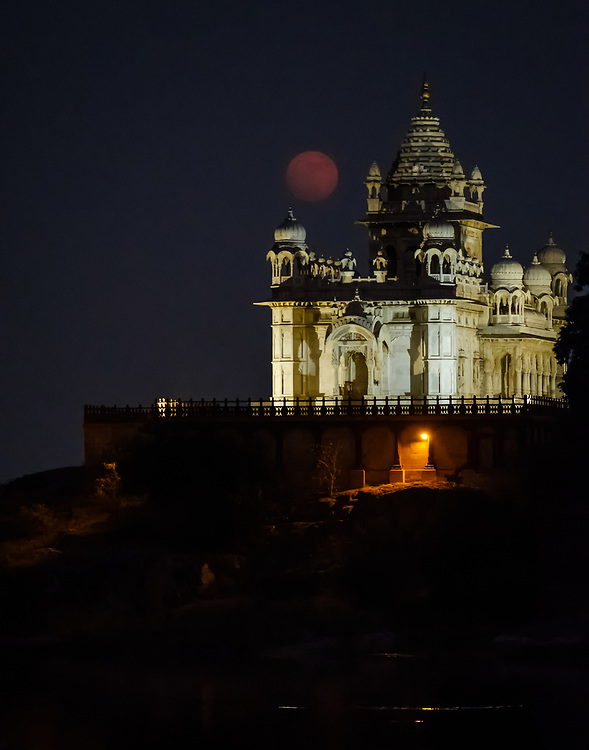 JODHPUR, INDIA - CIRCA NOVEMBER 2016:  Jaswant Thada Memorial at  night during 2017 super moon.