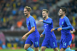 November 14, 2017 - Bucharest, Romania - Holland's Look de Jong, JoÃ«l Veltman and Marco van Ginkel celebrates after the goal of Luuk de Jong during International Friendly match between Romania and Netherlands at National Arena Stadium in Bucharest, Romania, on 14 november 2017. (Credit Image: © Alex Nicodim/NurPhoto via ZUMA Press)