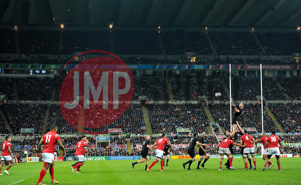 Kieran Read of New Zealand rises high to win lineout ball - Mandatory byline: Patrick Khachfe/JMP - 07966 386802 - 09/10/2015 - RUGBY UNION - St James' Park - Newcastle, England - New Zealand v Tonga - Rugby World Cup 2015 Pool C.