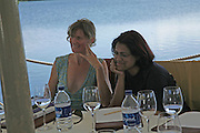 Mel Finn and Kumari Issur.  Judges meeting on the floating restaurant. Preparing for the Le Prince Maurice Prize. Mauritius. 27 May 2006. ONE TIME USE ONLY - DO NOT ARCHIVE  © Copyright Photograph by Dafydd Jones 66 Stockwell Park Rd. London SW9 0DA Tel 020 7733 0108 www.dafjones.com