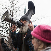 Washington DC, USA, 20 January, 2017. Vermin Supreme speaks at the DisruptJ20 protests of the inauguration of Donald J. Trump.