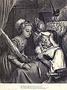 """""""The Princess looked in the door and said - 'What bonny white wool, and what bonny white thread!"""" Illustration from 'The Sleeping Beauty' by Paul Gustave Doré (1832-1883). The princess about to prick her finger and fall into a deep sleep for 100 years.  From the book Fairy realm. A collection of the favourite old tales. Illustrated by the pencil of Gustave Dore by Tom Hood, (1835-1874); Gustave Doré, (1832-1883) Published in London by Ward, Lock and Tyler in 1866"""