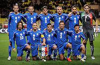 Fussball International, Italienische Nationalmannschaft  Italien - Kamerun 03.03.2010 Chiellini, Bonucci, Maggio, De Rossi, Borriello, Marchetti Pirlo, Cannavaro, Di Natale, Criscito, Cossu (ITA)