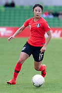 MELBOURNE, VIC - MARCH 06: Youngju Lee (19) of Korea Republic runs the ball downfield during The Cup of Nations womens soccer match between New Zealand and Korea Republic on March 06, 2019 at AAMI Park, VIC. (Photo by Speed Media/Icon Sportswire)