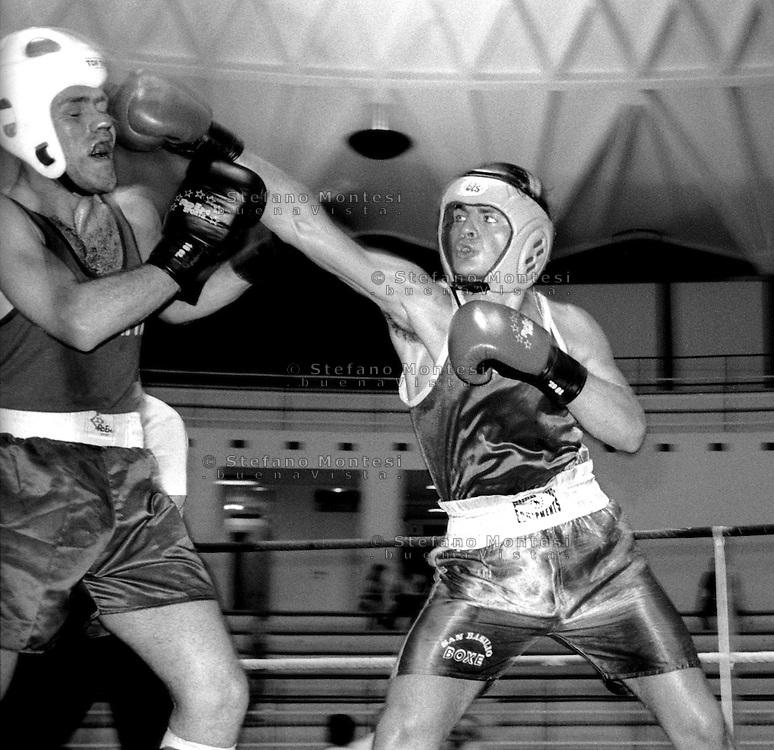 Roma Giugno 1997.Palazzetto dell Sport.Boxe dilettanti.Di Paolo( Boxe San Basilio) vs Gisci (Indomita).