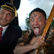 Georgian player Levan Datunashvili poses for photographs with Maori performer Gareth Johnson during the Georgia Rugby Teams official Civic welcome and cap presentation at Skyline.  Queenstown, New Zealand, 6th September 2011. Photo Tim Clayton...