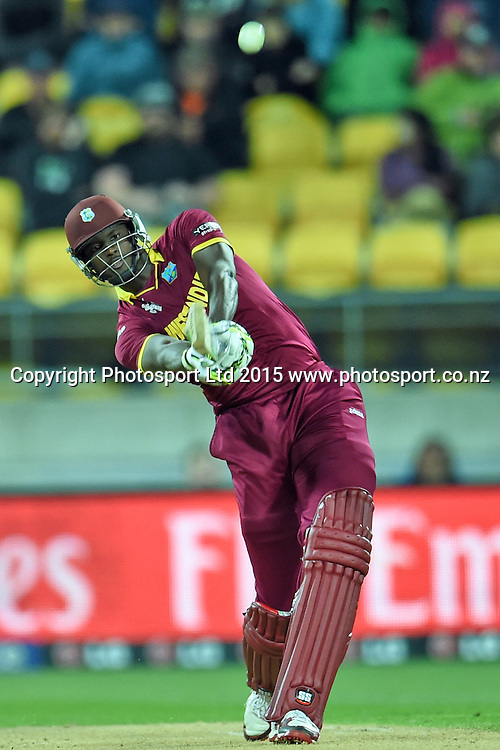 West Indies captain Jason Holder in action during the ICC Cricket World Cup Quaterfinal match between New Zealand and West Indies at Westpac Stadium in Wellington, New Zealand. Saturday 21  March 2015. Copyright Photo: Raghavan Venugopal / www.photosport.co.nz