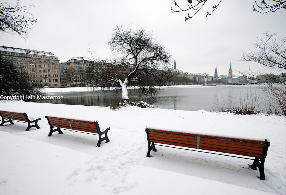 Winter view of Binnenalster Lake, Hamburg, Schleswig-Holstein Germany