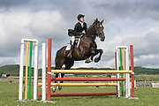 Rider and horse in full flight over a fence.
