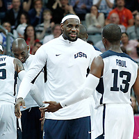 02 August 2012: Chris Paul is congratulated by LeBron James during 156-73 Team USA victory over Team Nigeria, during the men's basketball preliminary, at the Basketball Arena, in London, Great Britain.