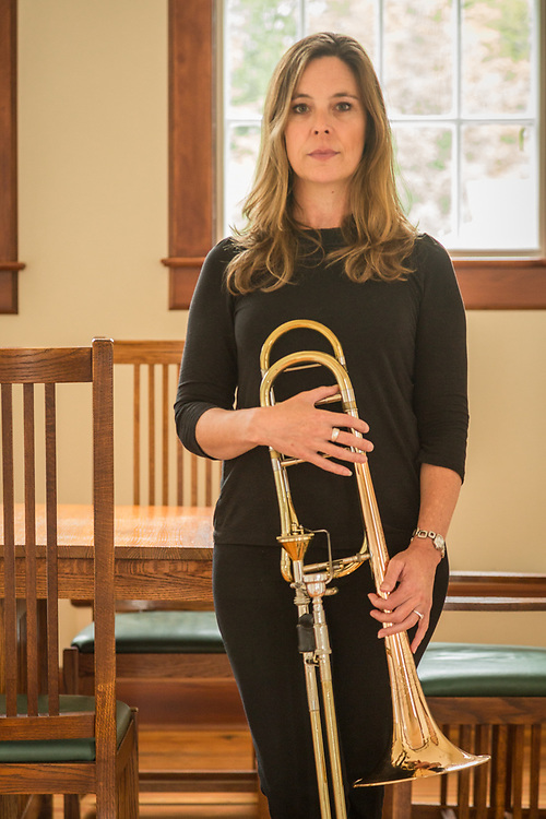Trombonist and educator Donna Parkes at the Sitka Fine Arts Camp, Sitka, Alaska