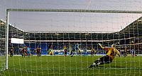 Photo: Daniel Hambury.<br />Reading v Brighton & Hove Albion. Coca Cola Championship. 10/12/2005.<br />Reading's David Kitson scores from the spot to make it 2-0 as Brighton 'keeper Alan Blayney (R) dives the wrong way.