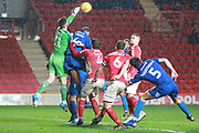 Charlton Athletic goalkepeer Jed Steer (21) punching the ball during the EFL Sky Bet League 1 match between Charlton Athletic and AFC Wimbledon at The Valley, London, England on 15 December 2018.