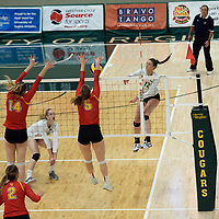 1st year outside hitter Jessica Lerminiaux (12) of the Regina Cougars in action during Women's Volleyball home opener on October 20 at Centre for Kinesiology, Health and Sport. Credit: Casey Marshall/Arthur Images