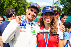 Kauzer Peter (SLO) winner in Kayak (K1) men with winner in Canoe (C1) women Wolffhardt Viktoria (AUT)  competition of 2018 ECA Canoe Slalom European Championships, on June 2nd, 2018 in Troja , Prague, Czech Republic. Photo by Grega Valancic / Sportida