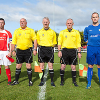 Newmarket-on-Fergus Captain Michael Crosby, Ennis Towns Captain Stephen Hickey along with Match officials before the Clare Cup Final 2014 at the county grounds, Ennis