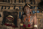 Konyak Naga tattooed Ang or Chief<br /> Only someone who and killed and taken a human head can be tattooed in this manner<br /> Konyak Naga headhunting Tribe<br /> Mon district<br /> Nagaland,  ne India