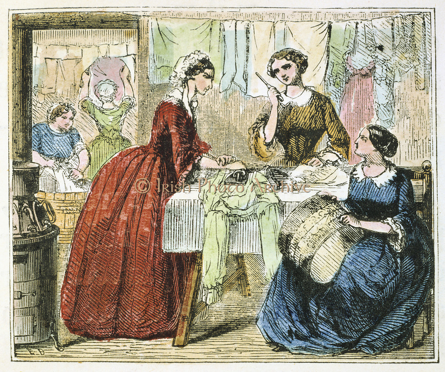 Ironing room in a laundry. Washroom through door in  the background.  On the left is the stove for heating the flatirons. Woman second from right is holding a goffering iron for fluting and crimping  of frills.  From 'Alphabet des Arts et Metiers', (Paris, 1867) Engraving.