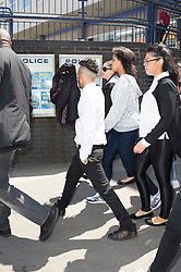 © Licensed to London News Pictures. 18/06/2014. Chelmsford , UK.  N-Dubz  pop group member Dino Costas Contostavlos aka 'Dappy' (centre) , with his minder outside Chelmsford Magistrates Court in Essex, at lunch, where he is accused of attacking a man in the early hours of 27 February and is due to stand trial. Photo credit Simon Ford/LNP