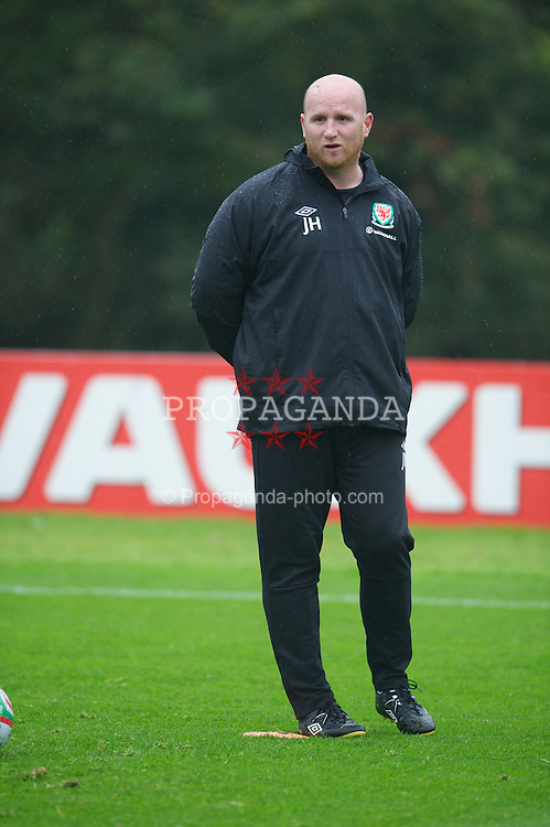 CARDIFF, WALES - Tuesday, October 9, 2012: Wales' assistant coach John Hartson during a training session at the Vale of Glamorgan ahead of the 2014 FIFA World Cup Brazil Qualifying Group A match against Scotland. (Pic by David Rawcliffe/Propaganda)
