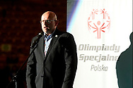 Katowice, Poland - 2017 September 01: Grzegorz Kurkowski from Special Olympics Poland speaks while Opening Ceremony during European Unified Volleyball Tournament 2017 at Spodek Hall on September 01, 2017 in Katowice, Poland.<br /> <br /> Adam Nurkiewicz declares that he has no rights to the image of people at the photographs of his authorship.<br /> <br /> Picture also available in RAW (NEF) or TIFF format on special request.<br /> <br /> Any editorial, commercial or promotional use requires written permission from the author of image.<br /> <br /> Image can be used in the press when the method of use and the signature does not hurt people on the picture.<br /> <br /> Mandatory credit:<br /> Photo by © Adam Nurkiewicz / Mediasport