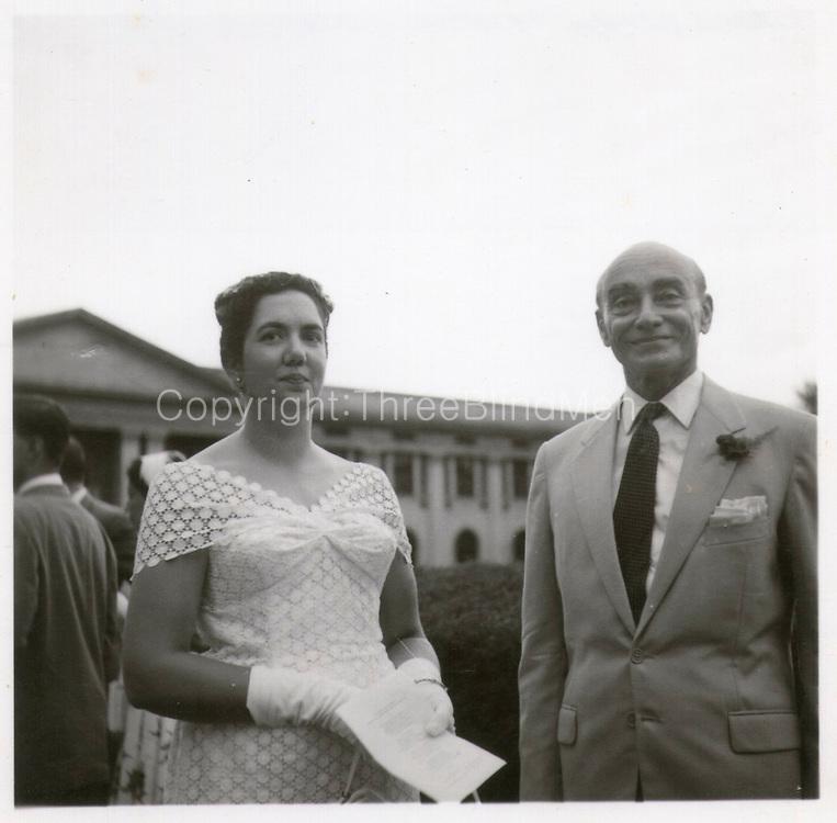 Hildon & Barbara Sansoni. Hildon gave away Jean at her wedding to his nephew, Brian Fernando. 1958. St. Thomas' College Chapel. Mount Lavinia.