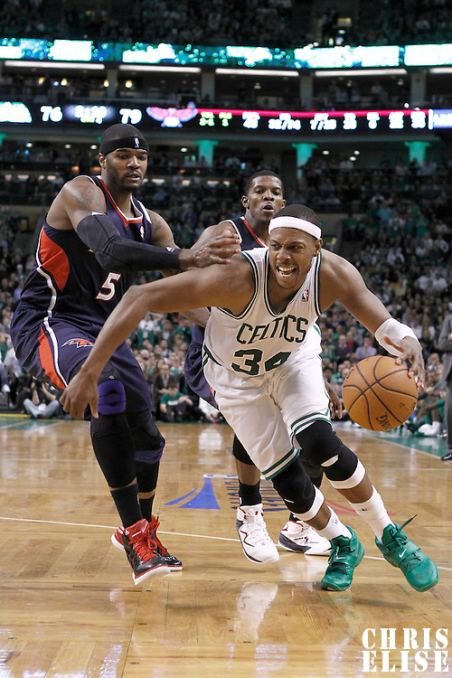 10 May 2012: Boston Celtics small forward Paul Pierce (34) drives past Atlanta Hawks power forward Josh Smith (5) during the Boston Celtics 83-80 victory over the Atlanta Hawks, in Game 6 of the Eastern Conference first-round playoff series, at the TD Banknorth Garden, Boston, Massachusetts, USA.