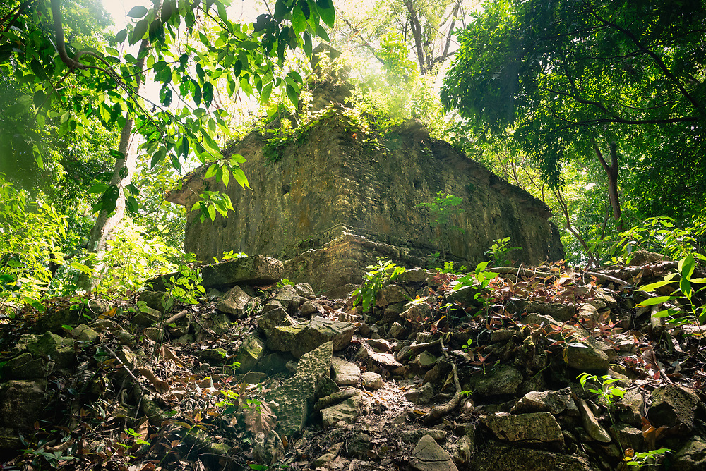 Mayan ruins overgrown by jungle at Palenque, Mexico