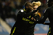Kamo Mokotjo(12) of Brentford celebrates his first goal 0-2 during the EFL Sky Bet Championship match between Wigan Athletic and Brentford at the DW Stadium, Wigan, England on 9 November 2019.
