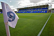 Stadium shot with corner flag in the foreground before the EFL Sky Bet League 1 match between Peterborough United and Portsmouth at London Road, Peterborough, England on 15 September 2018.
