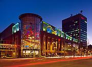 MTS Center entertainment complex at dusk on Portage Avenue