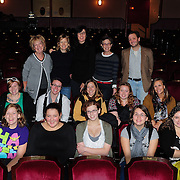 Women Fully Clothed comedians Jane Eastwood, Kathryn Greenwood, Teresa Pavlinek, and Robin Duke, and Music Hall Programming Coordinator Chris Curtis (L to R Standing) with members of Arts In Reach during a Q/A session at The Music Hall in Portsmouth, NH
