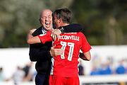 Accrington Stanley Manager  John Coleman celebrates with Sean McConville  at the end of the EFL Sky Bet League 2 match between Accrington Stanley and Portsmouth at the Fraser Eagle Stadium, Accrington, England on 17 September 2016. Photo by Craig Galloway.
