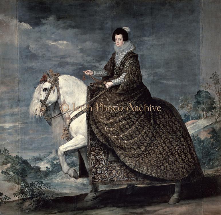Equestrian portrait of Queen Isabella, 1629-1635.  Diego Velasquez (1599-1660) Spanish painter. Oil on canvas.