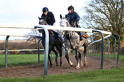 23rd November 2017 - Michael Owen Horse Racing - Former footballer Michael Owen (L) takes to the gallops at Manor House Stables in Cheshire ahead of his first ever race as a jockey - Photo: Simon Stacpoole / Offside.